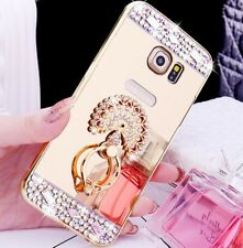 Bling Diamond Ring Holder Stand Mirror Back Cover Case For Samsung/iPhone/LG B