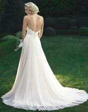 2017 Backless Tulle Bridal Gown Lace Wedding Dresses Custom 4 6 8 10 12 14 16 18