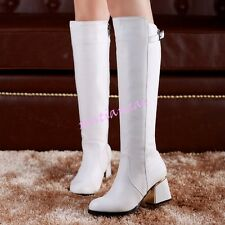 2017 Punk Winter Womens Chunky HeelS Zip Knee High Boots Riding Shoes Plus Size