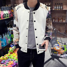Mens Floral Stand Collar Slim Fit Baseball Coat Athleisure Short Sport Jackets
