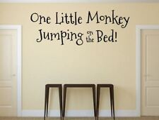 One Little Monkey Jumping On The Bed Wall Decal Monkey Decals Custom Vinyl, Stic