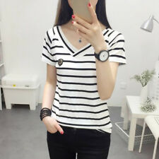 Women Stripes V Neck Slim Tops Lady Sexy Fit Short Sleeve Casual Blouse T-Shirts