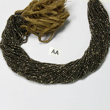 """Natural Gold Pyrite Gemstone Beads Rondelle Faceted Cut 13"""" Strand Top Quality"""