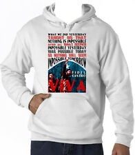 FIDEL CASTRO NOTHING IS IMPOSSIBLE QUOTE - NEW COTTON WHITE HOODIE