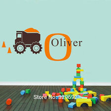 Dump Truck Customized Kids Room Name Decal Vinyl Text Personalized Wall Sticker