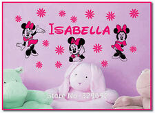 Minnie Mouses Customized Girls Name Decal Vinyl Text Personalized Wall Sticker