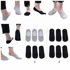 6 Pairs Men's Casual Cotton Boat Socks No Show Low Cut Non-Slip Silicone Liner