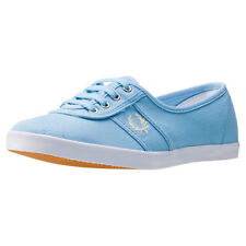 Fred Perry Aubrey Womens Blue Canvas Casual Trainers Lace-up Genuine Shoes