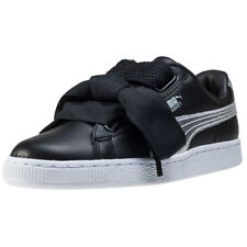 Puma Basket Heart Explosive Womens Trainers Black Silver New Shoes