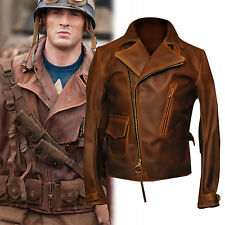 Marvel's First avenger captain america brown leather jacket- All Sizes