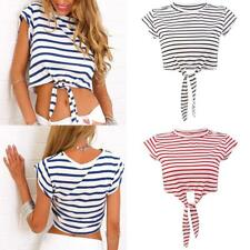 Womens Ladies Casual Loose Stripe Tee Blouse Summer Stretchy Crop Top T-Shirt