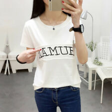 Stylish Women Loose T-Shirt Letters Print Short Sleeve Shirts Blouse Casual Tops