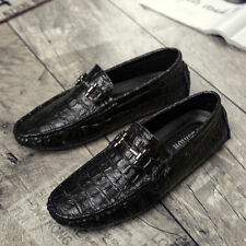 Mens Shoes Casual Flat crocodile Slip On Metal Decor Vintage Loafers moccasin