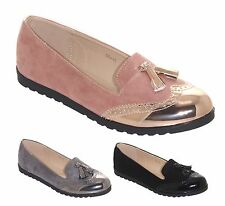 New Womens Ladies Metallic Casual Suede Look Loafers Brogues Sneakers Shoes
