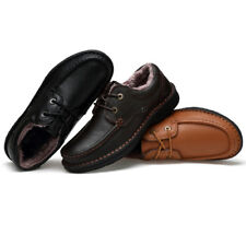 Mens Leather Lace Up Dress Formal Work Office Flats Shoes Brown Black Size