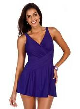 Miraclesuit Aurora Slimming One Piece Skirted Swimsuit, Purple NWT Size 16