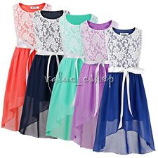 Lace Flower Girl Dress Princess Party Pageant Bridesmaid Formal Wedding Dresses