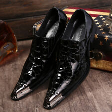 US Size 6-11 Texture Leather Metal Toe Formal Office Dress Mens Classic Shoes