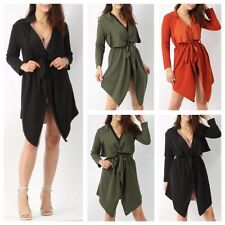 NEW WOMENS LADIES LONG SLEEVE MODEST BELTED WATERFALL JACKET SHAWL COLLAR COAT