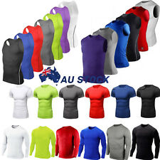 AU Men Compression Armour Base Layer Top Long Sleeve Thermal Gym Sport Tee Shirt