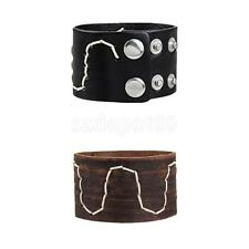 PU Leather Snap Button Bracelet Wide Leather Cuff Bangle Punk Rock Bracelet