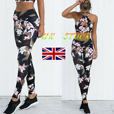Women's Floral Print Leotard Pants Sports Gym Yoga Workout Mesh Leggings Trouses