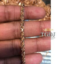 10K Rose Gold Italy Diamond Cut Men's Solid Rope Chain Twist Necklace 4 mm