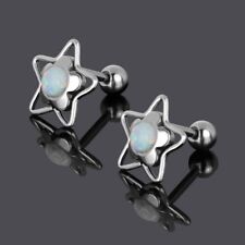 Pair Opal Ball Tragus Cartilage Ring Barbell Ear Studs Labret Earring 16g(1.2mm)