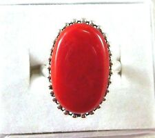 Created Red Coral Inlay 925 Sterling Silver Balinese Ring