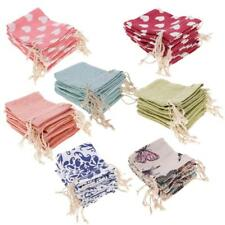 10Pcs Linen Wedding Party Candy Bag Organza Drawstring Favour Gift Bags Pouches