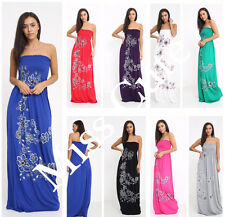 New Womens Ladies Floral Print Pattern Bandeau Boobtube Sheering Long Maxi Dress