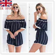 UK Women Bandeau Off Shoulder Striped Playsuit Beach Jumpsuit Mini Shorts Romper