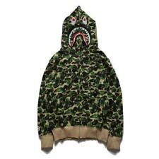 Unisex Camo Green Hoodie Bape Shark Jaw Pattern A Bathing Ape Hot Jacket 4Size
