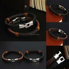 New Surfer Men Vintage Hemp Wrap Leather Wristband Bracelet Cuff Black CLSV