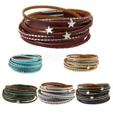 Multi Layer PU Leather Wrap Wristband Cuff Punk Magnetic Buckle Bracelet