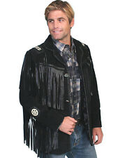 NWT Scully Black Boar Suede Leather Hand Laced Bead Trim Fringe Jacket 75819
