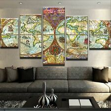 Map of World  Prints Modern Canvas Art Painting Abstract Poster Wall Home Decor