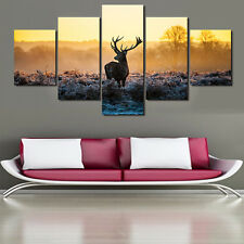 African Sunset Winter Deer Paintings Modern Canvas Picture Wall Art Home Decor