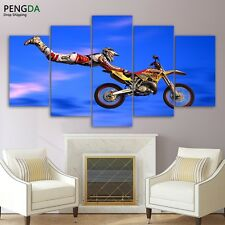 Motocross Limit Jumps Abstract Prints Modern Canvas Picture Wall Art Home Decor
