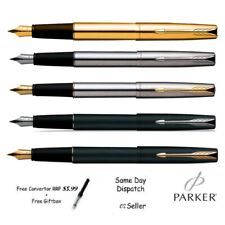 PARKER FRONTIER STAINLESS STEEL FOUNTAIN PEN - Matte black , chrome , gold NEW