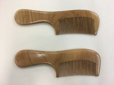 2 x  Natural peach wood comb anti static close teeth hair massage healthy comb