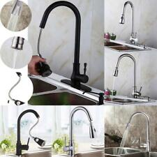 "18"" Pull Out Kitchen Brushed Nickel Sink Faucet One Hole Handle Spray Mixer Tap"