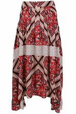 Free People $128 NWT Red White Floral Asymmetric Hem Pleated Skirt Womens