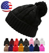 Women's Winter Ski Thick Oversized Cable Knitted Warm Lined Pom Pom Beanie