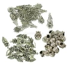 20x Zinc Alloy Tibet Silver Peacock Flower Pendants For Necklace Bags Keychains
