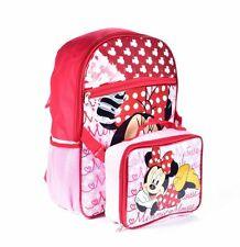 "NEW DISNEY MINNIE MOUSE 16"" INCH GIRLS BACKPACK WITH LUNCH BAG REXCLUSIVE MICKEY"