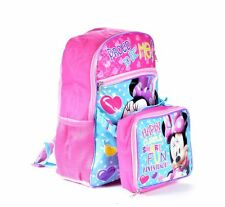 "DISNEY MINNIE MOUSE 16"" INCH GIRLS BACKPACK WITH LUNCH BAG EXCLUSIVE MINNIE"