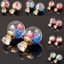 Dry Flower Crystal Filled Double Sided Ball Glass Gold Stud Earrings For NC89