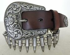Rare 12 Gauge Bullet Belt by Montana West Coffee Leather