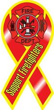 """4""""-18"""" SUPPORT Our FIREFIGHTERS Fire Rescue Maltese Car Ribbon Vinyl Decal"""